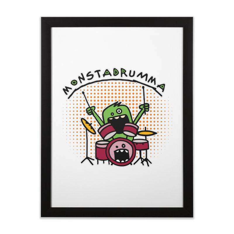 Monster Drummer Home Framed Fine Art Print by Illustrated Madness