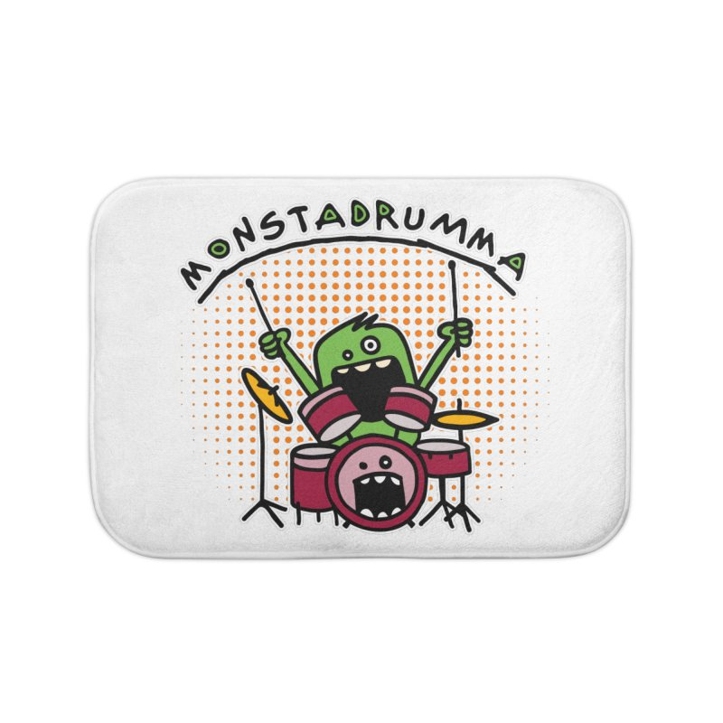 Monster Drummer Home Bath Mat by Illustrated Madness