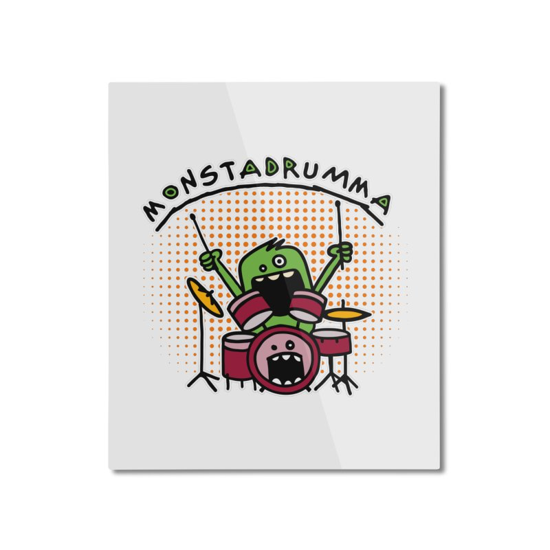 Monster Drummer Home Mounted Aluminum Print by Illustrated Madness