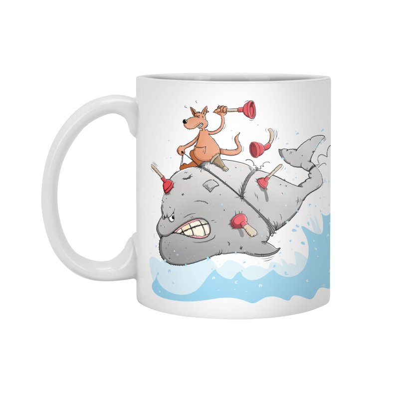 Moby Dick the white Whale and Ahab the one-leg Kangaroo Accessories Mug by Illustrated Madness