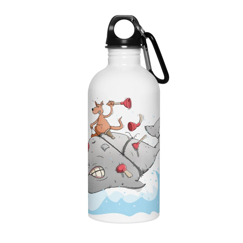 Moby Dick the white Whale and Ahab the one-leg Kangaroo Accessories Water Bottle by Illustrated Madness