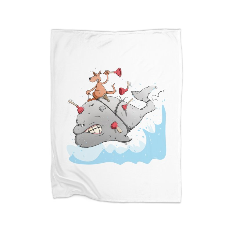 Moby Dick the white Whale and Ahab the one-leg Kangaroo Home Blanket by Illustrated Madness