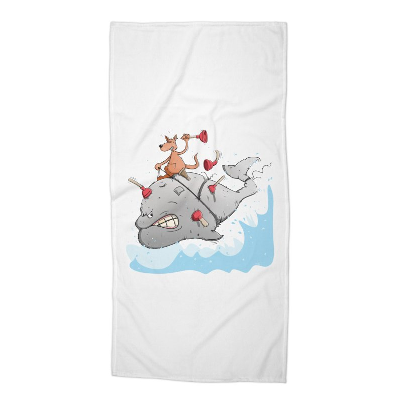 Moby Dick the white Whale and Ahab the one-leg Kangaroo Accessories Beach Towel by Illustrated Madness