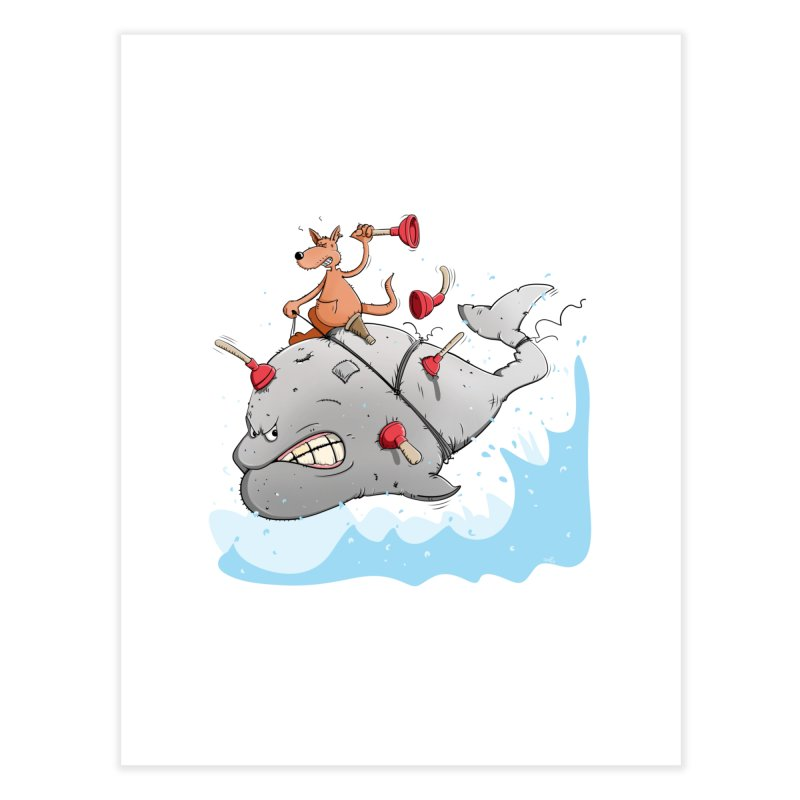 Moby Dick the white Whale and Ahab the one-leg Kangaroo Home Fine Art Print by Illustrated Madness