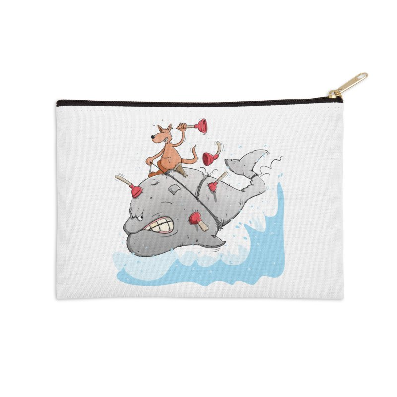 Moby Dick the white Whale and Ahab the one-leg Kangaroo Accessories Zip Pouch by Illustrated Madness