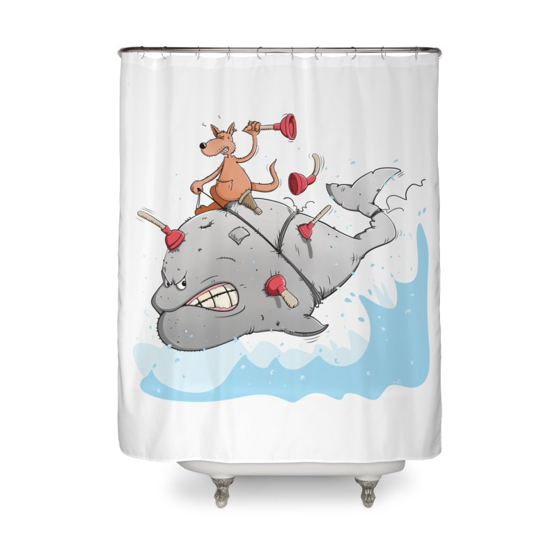 Moby Dick the white Whale and Ahab the one-leg Kangaroo Home Shower Curtain by Illustrated Madness