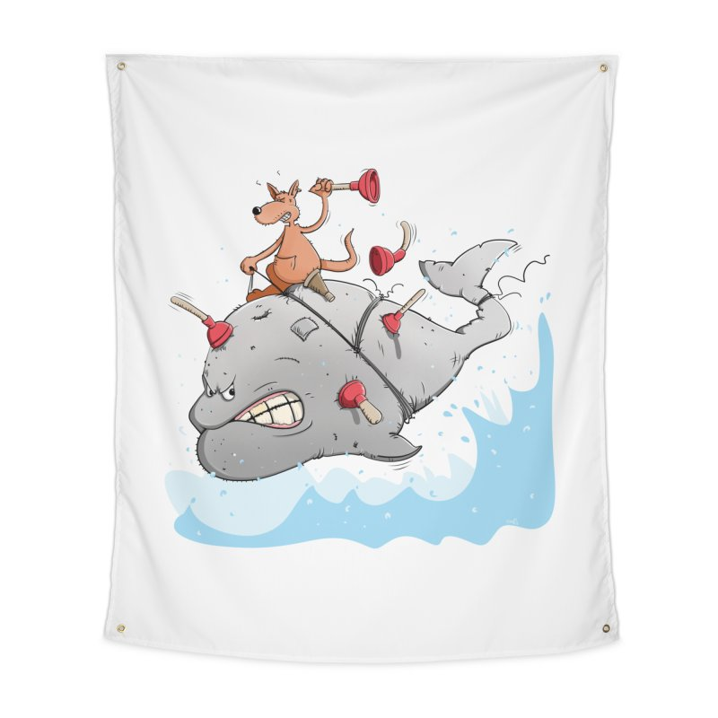 Moby Dick the white Whale and Ahab the one-leg Kangaroo Home Tapestry by Illustrated Madness