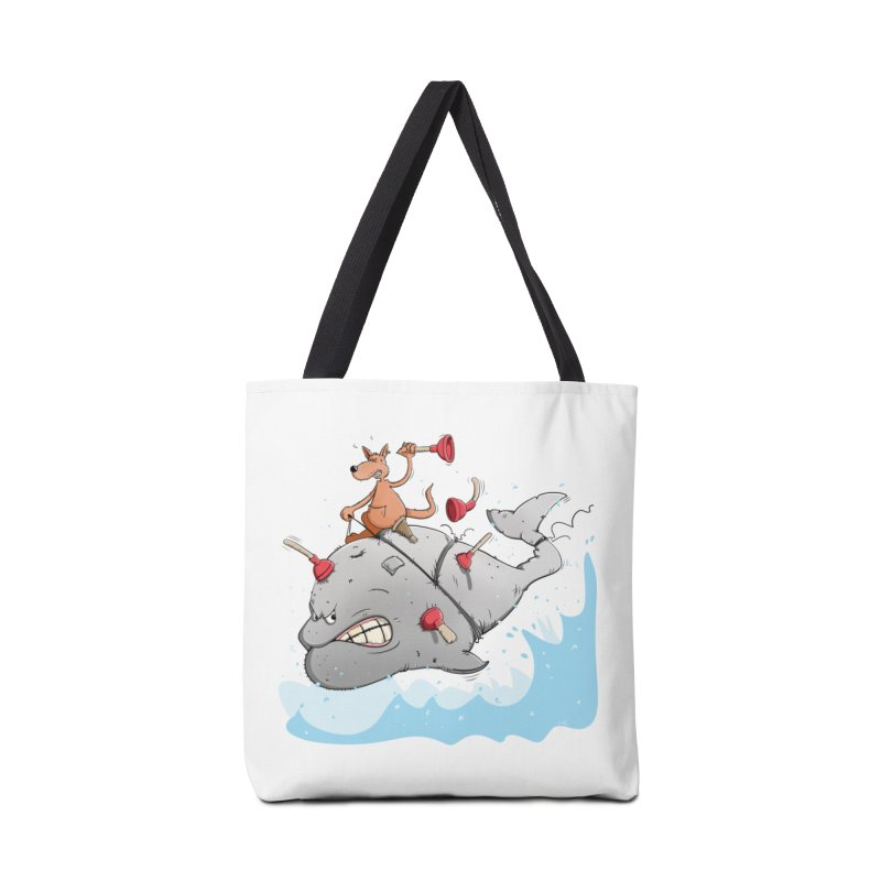 Moby Dick the white Whale and Ahab the one-leg Kangaroo Accessories Bag by Illustrated Madness