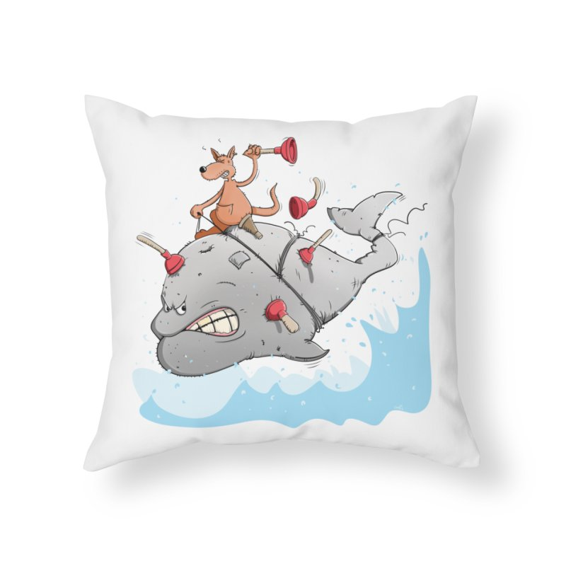Moby Dick the white Whale and Ahab the one-leg Kangaroo Home Throw Pillow by Illustrated Madness