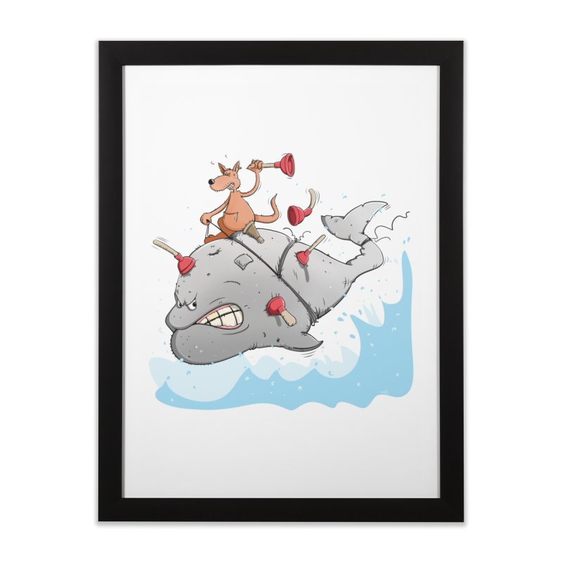 Moby Dick the white Whale and Ahab the one-leg Kangaroo Home Framed Fine Art Print by Illustrated Madness