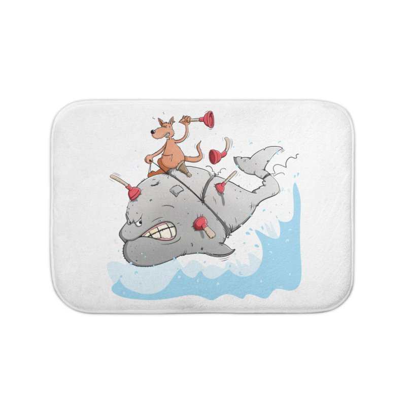 Moby Dick the white Whale and Ahab the one-leg Kangaroo Home Bath Mat by Illustrated Madness