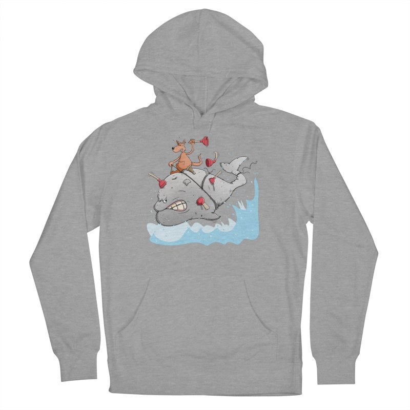 Moby Dick the white Whale and Ahab the one-leg Kangaroo Women's Pullover Hoody by Illustrated Madness