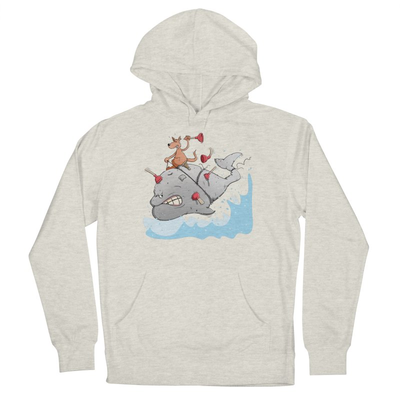 Moby Dick the white Whale and Ahab the one-leg Kangaroo Women's French Terry Pullover Hoody by Illustrated Madness