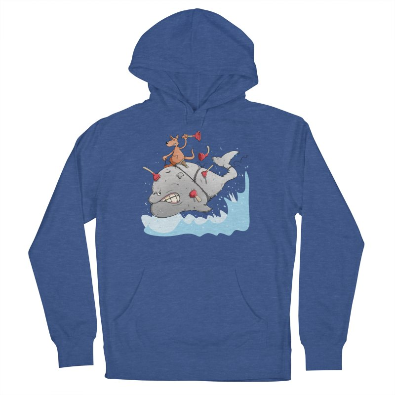 Moby Dick the white Whale and Ahab the one-leg Kangaroo Men's French Terry Pullover Hoody by Illustrated Madness
