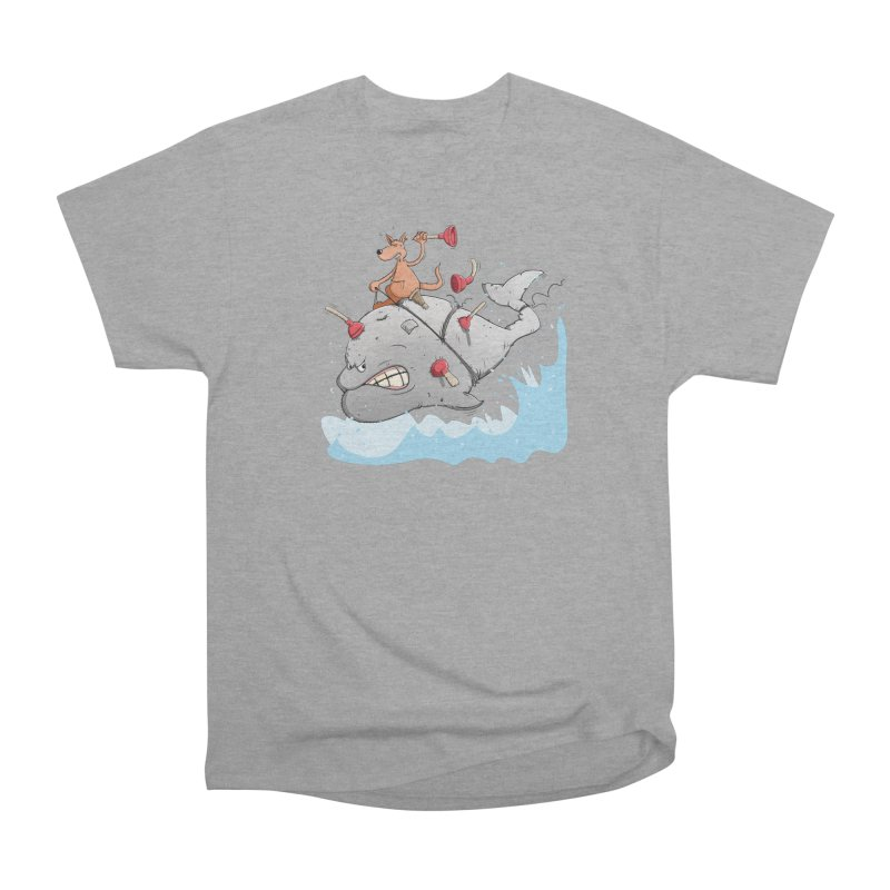Moby Dick the white Whale and Ahab the one-leg Kangaroo Women's Heavyweight Unisex T-Shirt by Illustrated Madness