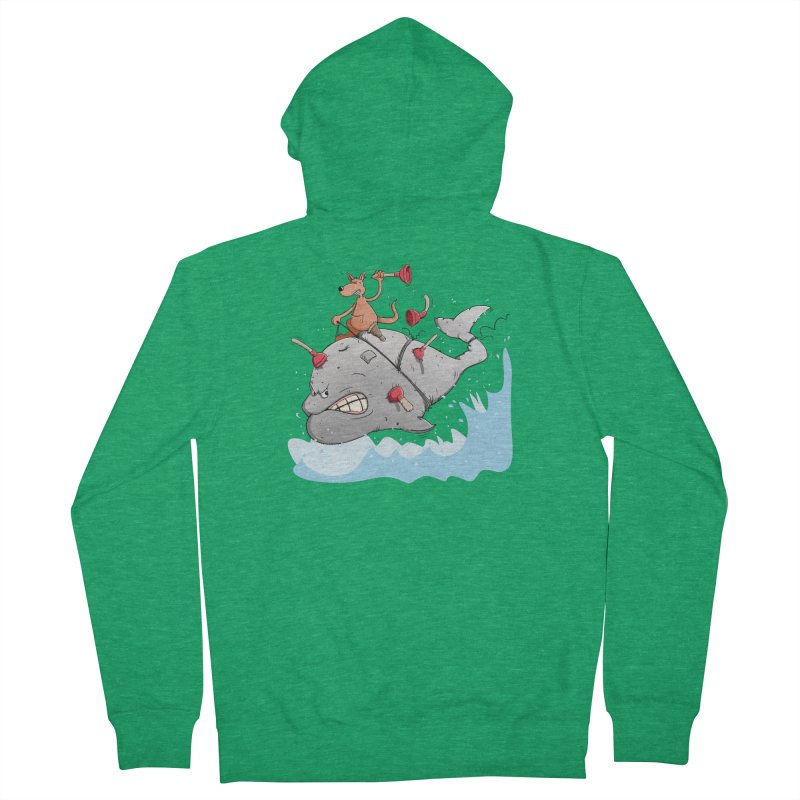 Moby Dick the white Whale and Ahab the one-leg Kangaroo Women's French Terry Zip-Up Hoody by Illustrated Madness