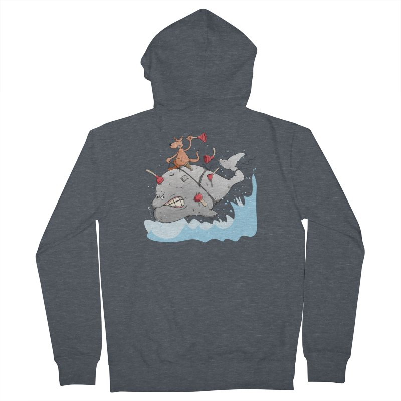Moby Dick the white Whale and Ahab the one-leg Kangaroo Men's Zip-Up Hoody by Illustrated Madness