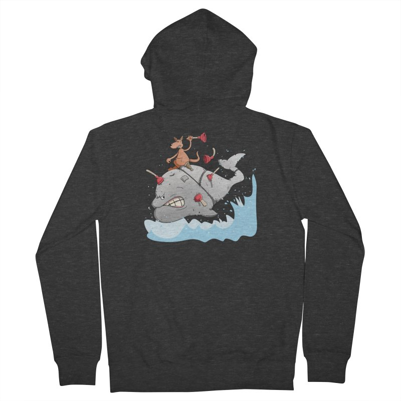 Moby Dick the white Whale and Ahab the one-leg Kangaroo Men's French Terry Zip-Up Hoody by Illustrated Madness