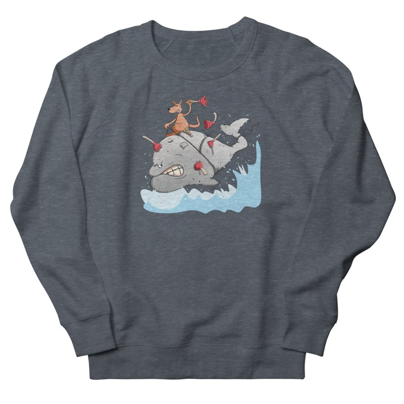 Moby Dick the white Whale and Ahab the one-leg Kangaroo Women's French Terry Sweatshirt by Illustrated Madness