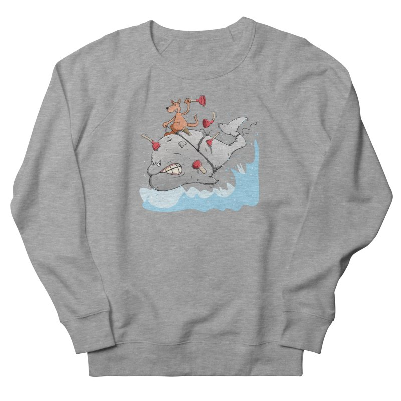 Moby Dick the white Whale and Ahab the one-leg Kangaroo Women's Sweatshirt by Illustrated Madness