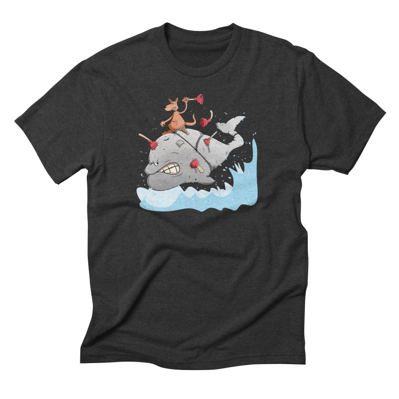 Moby Dick the white Whale and Ahab the one-leg Kangaroo Men's Triblend T-Shirt by Illustrated Madness