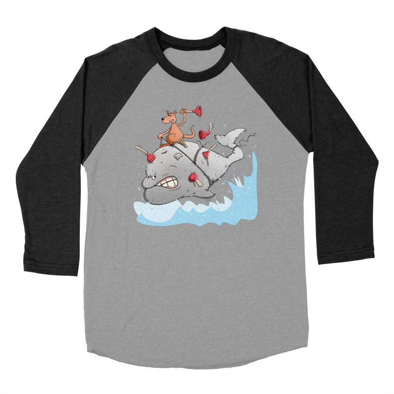 Moby Dick the white Whale and Ahab the one-leg Kangaroo Women's Baseball Triblend Longsleeve T-Shirt by Illustrated Madness