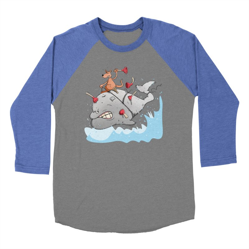 Moby Dick the white Whale and Ahab the one-leg Kangaroo Men's Baseball Triblend T-Shirt by Illustrated Madness