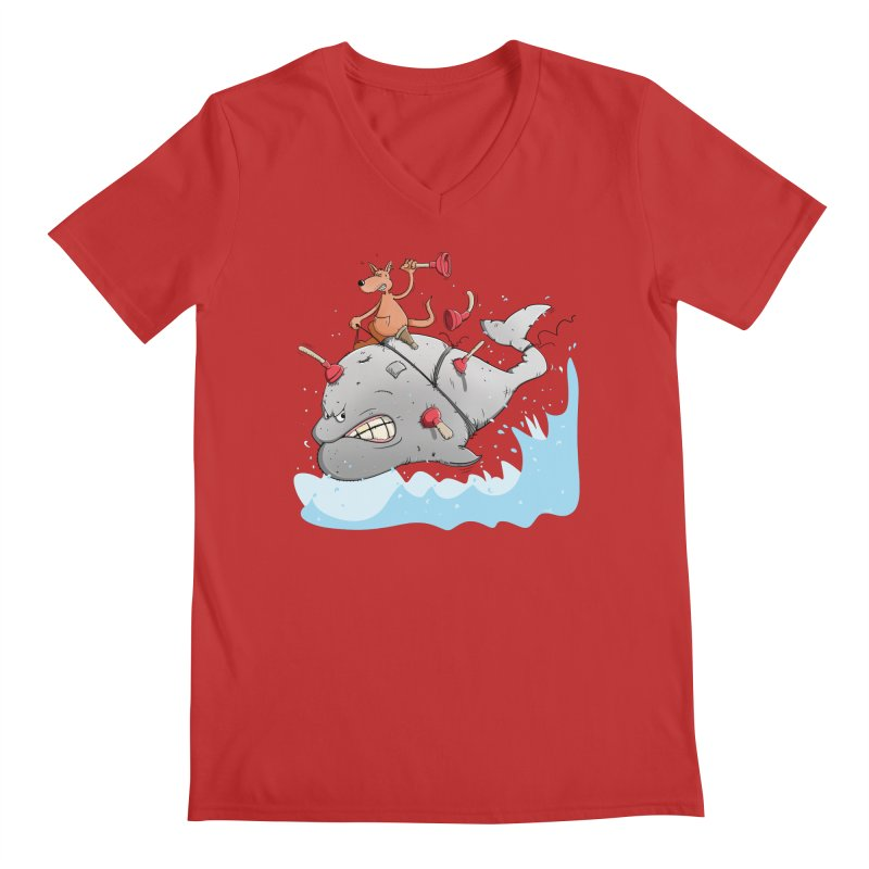 Moby Dick the white Whale and Ahab the one-leg Kangaroo Men's Regular V-Neck by Illustrated Madness