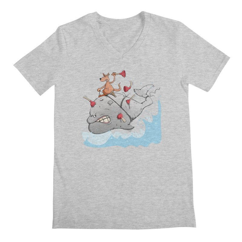Moby Dick the white Whale and Ahab the one-leg Kangaroo Men's V-Neck by Illustrated Madness