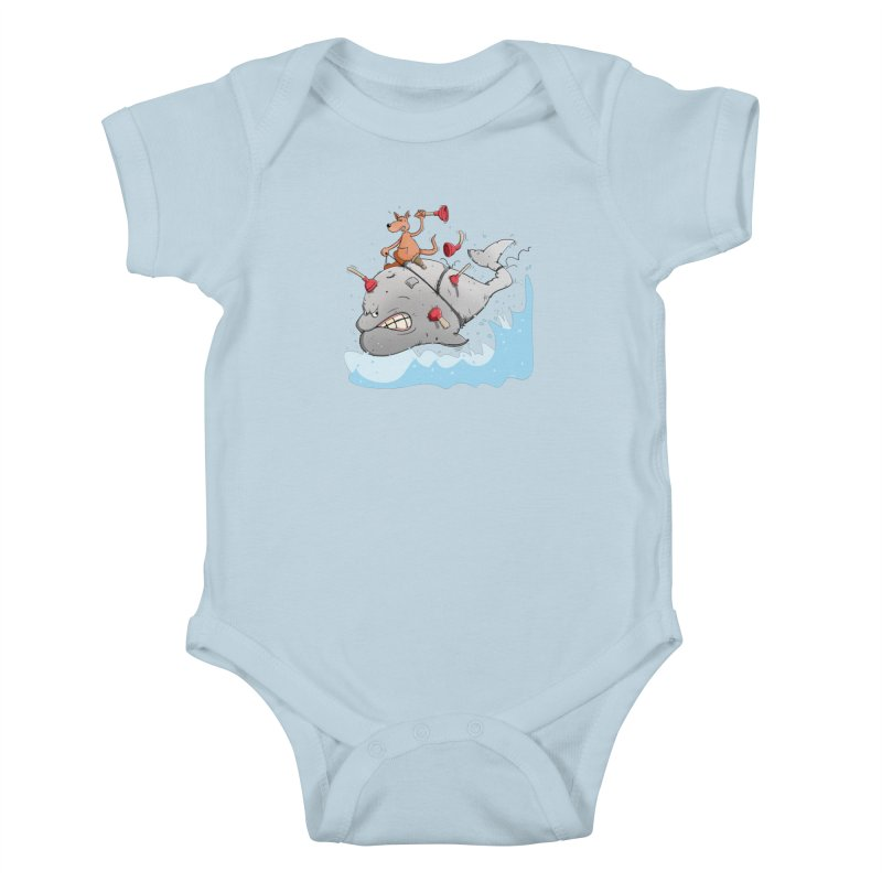 Moby Dick the white Whale and Ahab the one-leg Kangaroo Kids Baby Bodysuit by Illustrated Madness