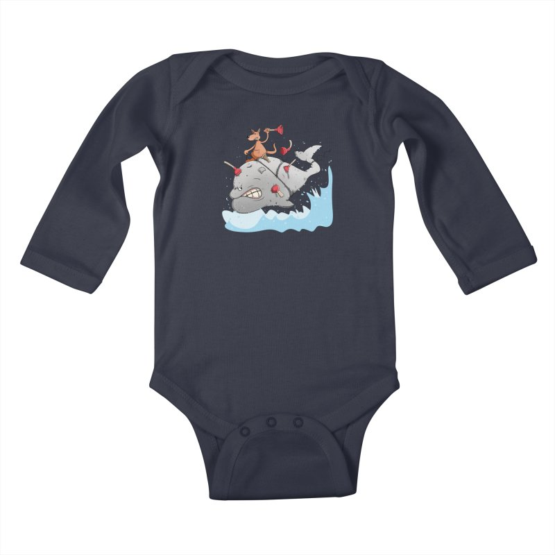 Moby Dick the white Whale and Ahab the one-leg Kangaroo Kids Baby Longsleeve Bodysuit by Illustrated Madness