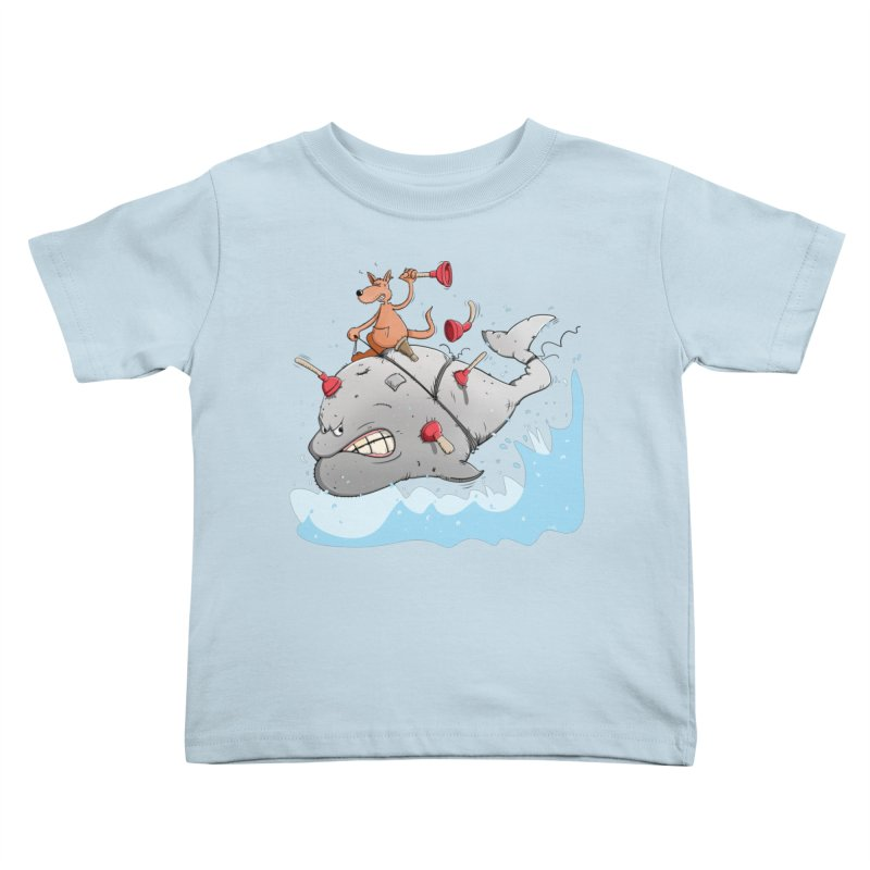 Moby Dick the white Whale and Ahab the one-leg Kangaroo Kids Toddler T-Shirt by Illustrated Madness
