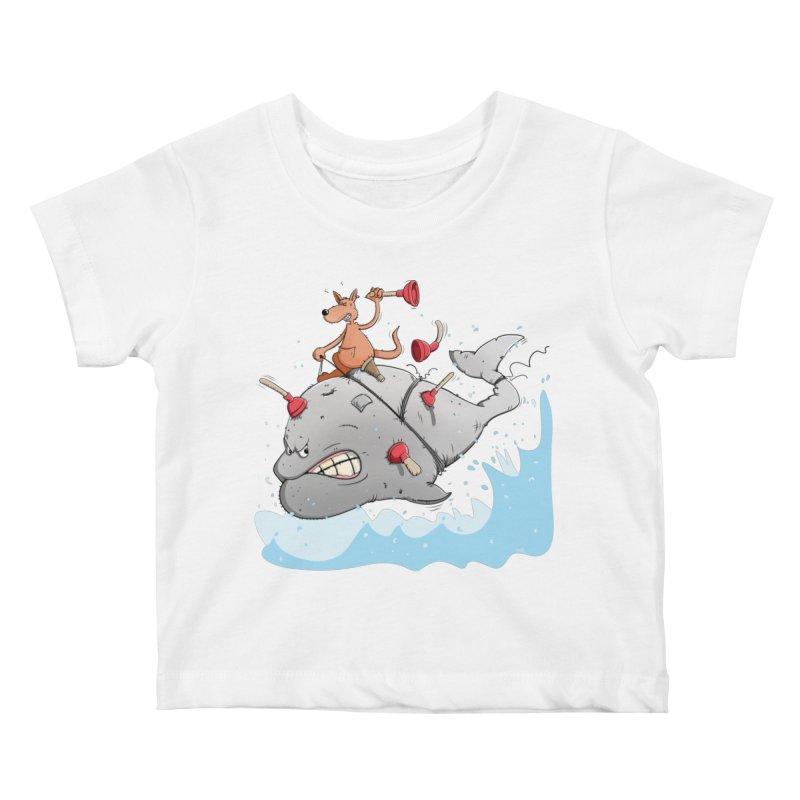 Moby Dick the white Whale and Ahab the one-leg Kangaroo Kids Baby T-Shirt by Illustrated Madness