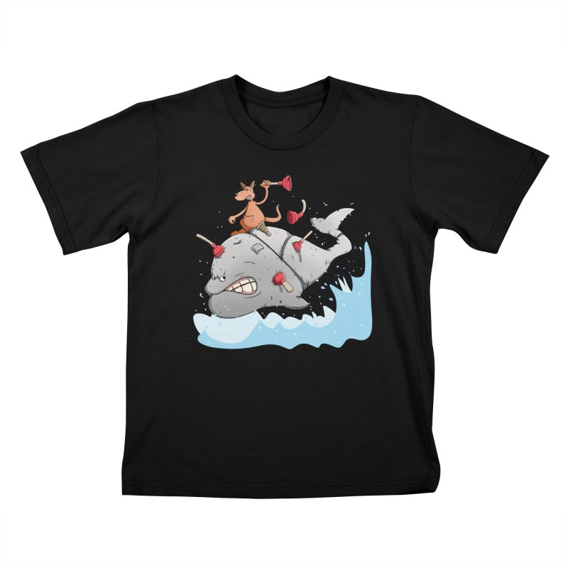 Moby Dick the white Whale and Ahab the one-leg Kangaroo Kids T-Shirt by Illustrated Madness