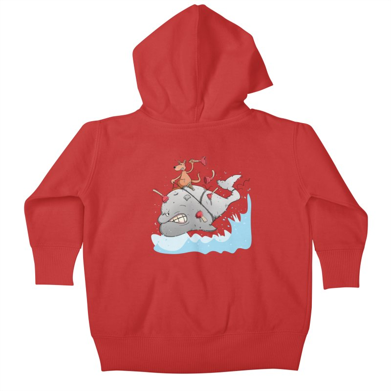 Moby Dick the white Whale and Ahab the one-leg Kangaroo Kids Baby Zip-Up Hoody by Illustrated Madness
