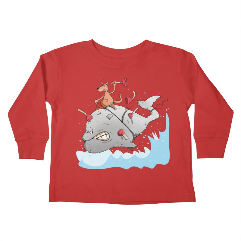Moby Dick the white Whale and Ahab the one-leg Kangaroo Kids Toddler Longsleeve T-Shirt by Illustrated Madness