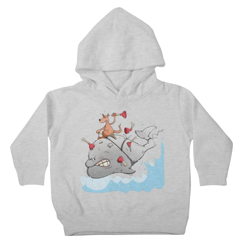 Moby Dick the white Whale and Ahab the one-leg Kangaroo Kids Toddler Pullover Hoody by Illustrated Madness
