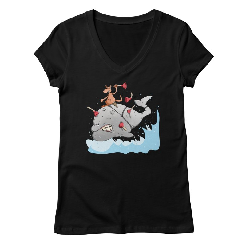 Moby Dick the white Whale and Ahab the one-leg Kangaroo Women's V-Neck by Illustrated Madness