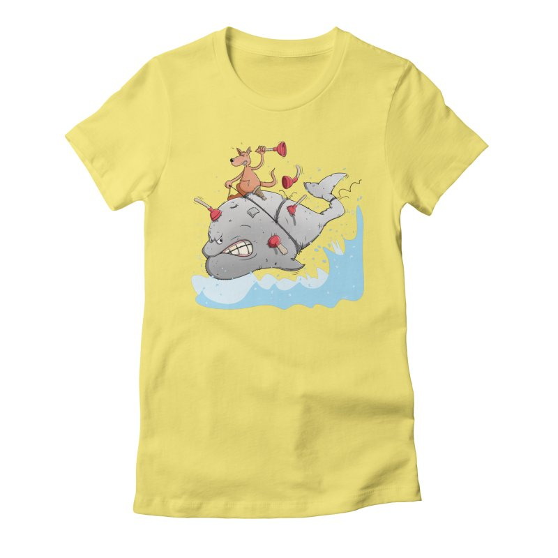 Moby Dick the white Whale and Ahab the one-leg Kangaroo Women's T-Shirt by Illustrated Madness