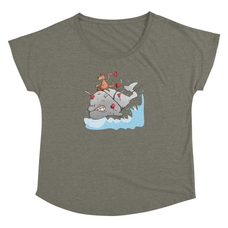 Moby Dick the white Whale and Ahab the one-leg Kangaroo Women's Dolman by Illustrated Madness
