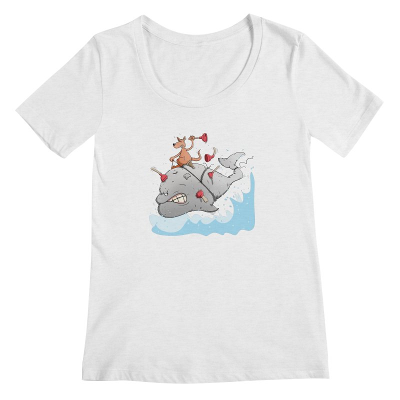 Moby Dick the white Whale and Ahab the one-leg Kangaroo Women's Scoop Neck by Illustrated Madness