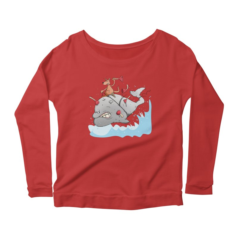 Moby Dick the white Whale and Ahab the one-leg Kangaroo Women's Longsleeve Scoopneck  by Illustrated Madness