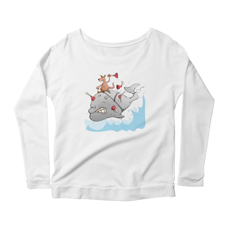 Moby Dick the white Whale and Ahab the one-leg Kangaroo Women's Scoop Neck Longsleeve T-Shirt by Illustrated Madness