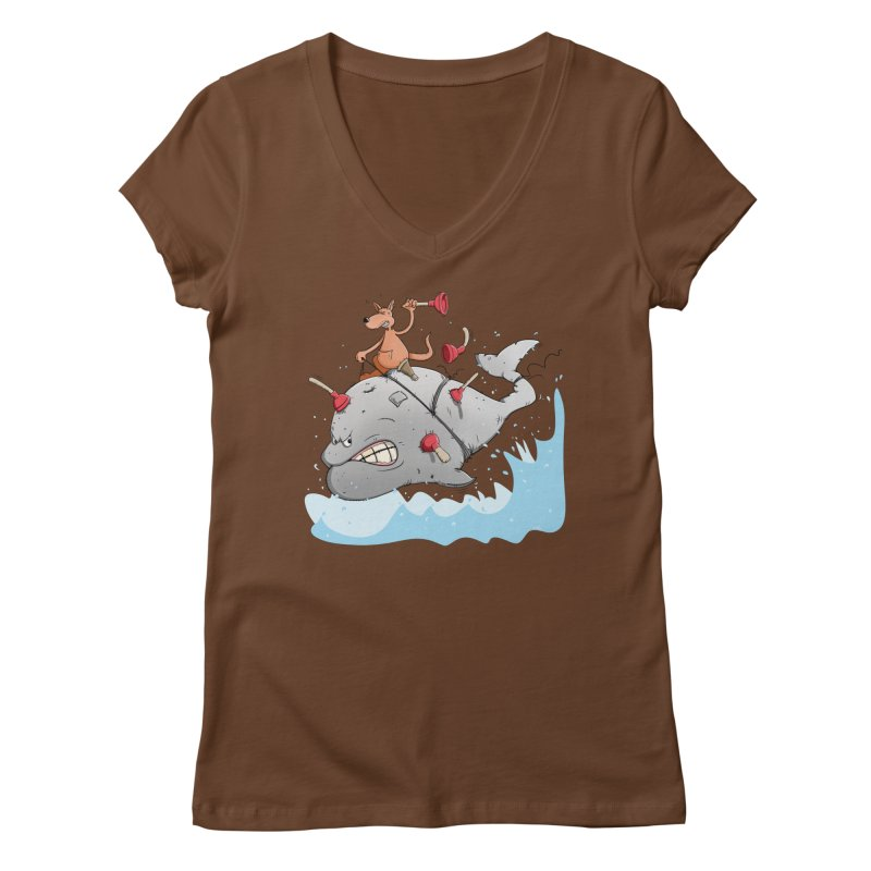 Moby Dick the white Whale and Ahab the one-leg Kangaroo Women's Regular V-Neck by Illustrated Madness
