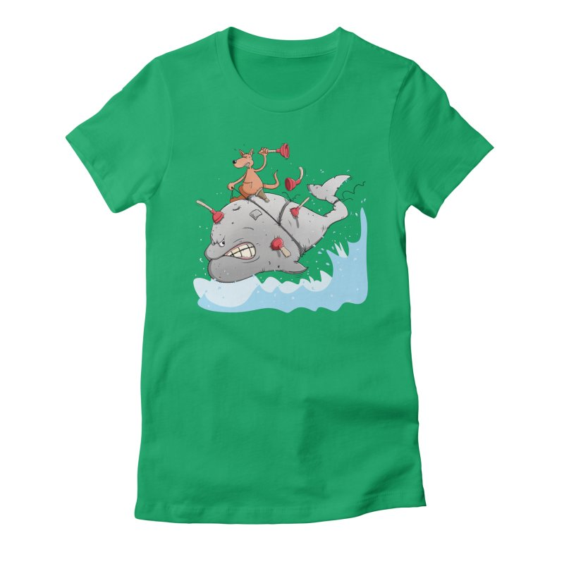 Moby Dick the white Whale and Ahab the one-leg Kangaroo Women's Fitted T-Shirt by Illustrated Madness