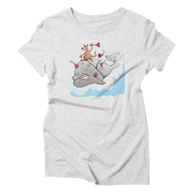 Moby Dick the white Whale and Ahab the one-leg Kangaroo Women's Triblend T-Shirt by Illustrated Madness