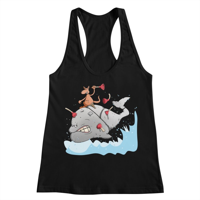 Moby Dick the white Whale and Ahab the one-leg Kangaroo Women's Tank by Illustrated Madness
