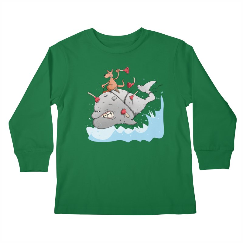Moby Dick the white Whale and Ahab the one-leg Kangaroo Kids Longsleeve T-Shirt by Illustrated Madness