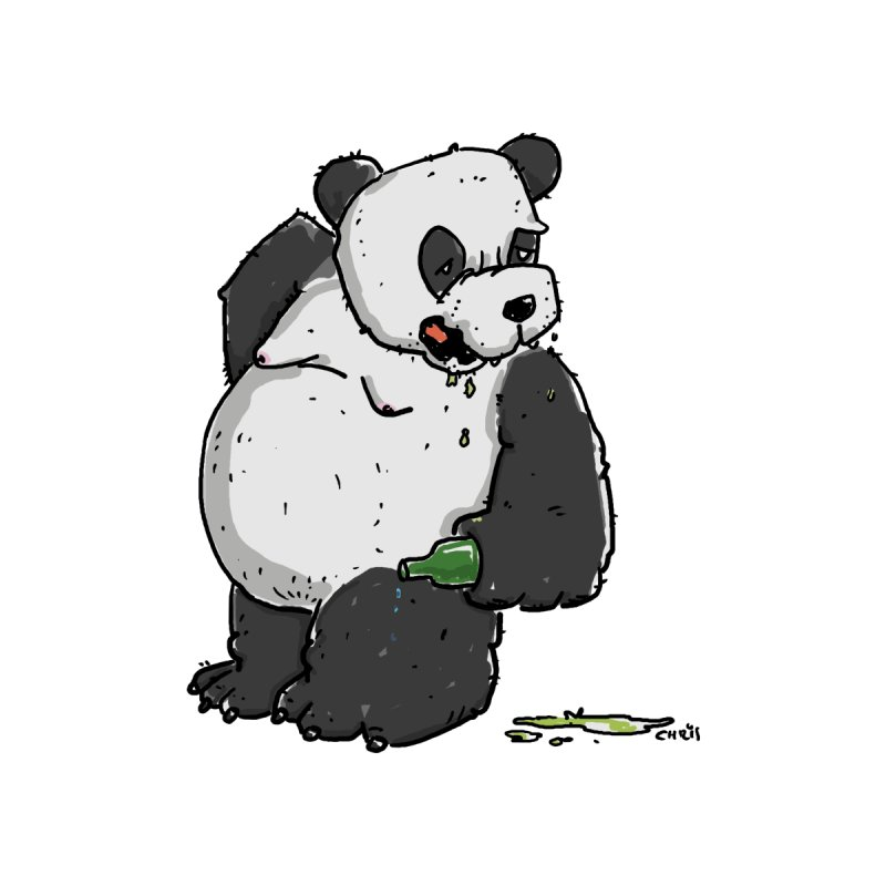 The Panda-Bear drinks Panda-Beer Home Fine Art Print by Illustrated Madness