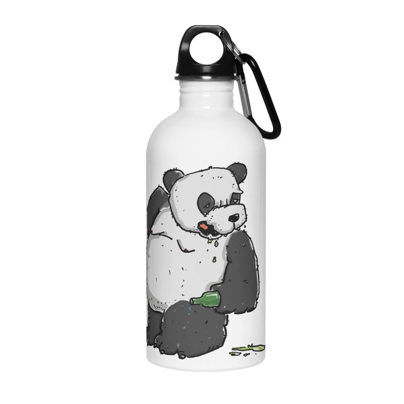 The Panda-Bear drinks Panda-Beer Accessories Water Bottle by Illustrated Madness